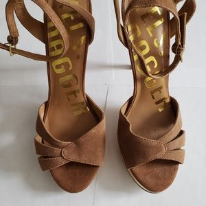 Tan Suede Ankle Strap Heels Shoes
